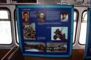 Külön tablón szerepelnek az ötletgazda alkotók (középen), akik közül sajnos már csak Színi Béla, a Sallai Főműhely 1964-66 közötti igazgatója, a Közlekedéstudományi Intézet Örökös Tagja él. Rózsa László, a FAÜ egykori igazgatója 1970-ben, az 1962-1995 között a MOGÜRT-nél tevékenykedő, és az Ikarus exporttevékenységével foglalkozó Lassú Gábor pedig 2009-ben hunyt el. A négy hétvégén járatott buszon csak képes anyag informált, a múzeumban korábban látott tárgyi emlékek és modellek nem utaztak, ezek biztonsága és épsége ugyanis nem volt garantálható