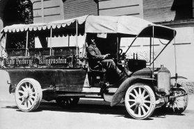 Kässbohrer felépítményes, svájci Saurer alvázas teher-, illetve személyszállító jármű 1907-ből