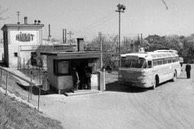 Ikarus 66, amely itt már a Mávaut flottájában fut, pedig eredetileg a fővárosnak szánták. Budapesten nem vált be ez a 100 személyes típus, így a FAÜ szokatlanul rövid idő alatt selejtezte, illetve elcserélte mind a 75 darab kocsiját